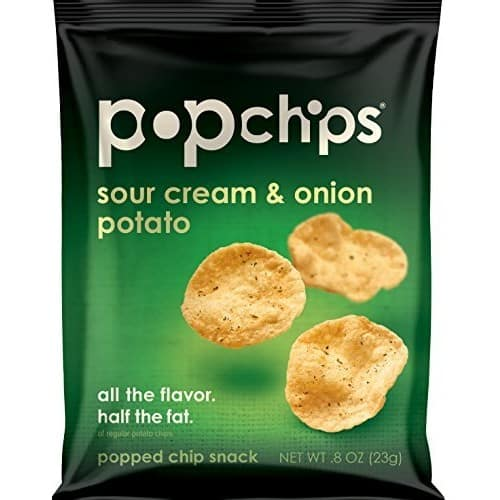 Amazon Sub & Save $9.22: Popchips Potato Chips, Sour Cream & Onion Potato Chips, 24 Count Single Serve Bags (0.8 oz), Gluten Free, Low Fat, KosherPopch