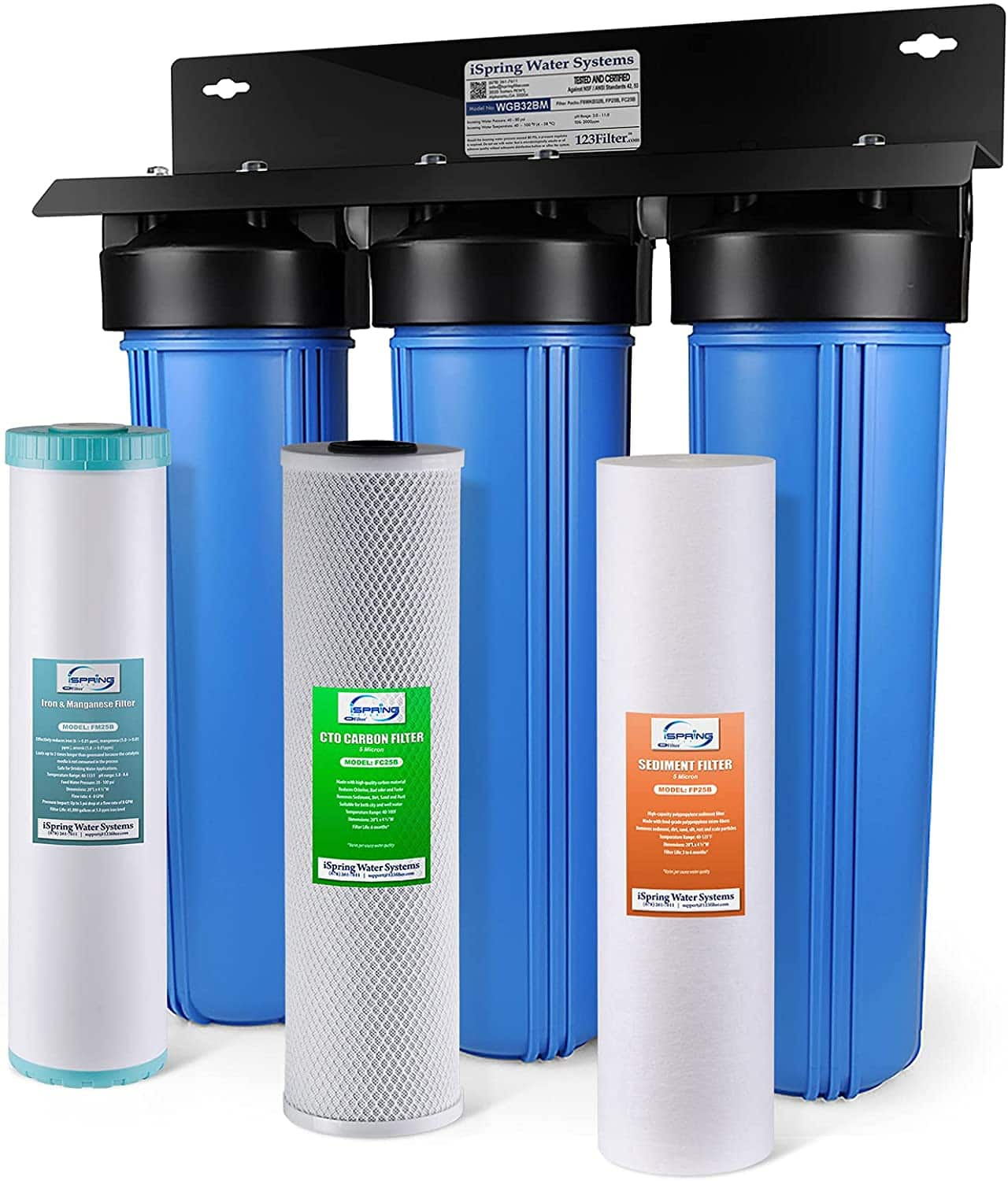 WGB32BM 3-Stage Whole House Water Filtration System w/ 20-Inch Sediment, Carbon Block, and Iron & Manganese Reducing Filter $363.02