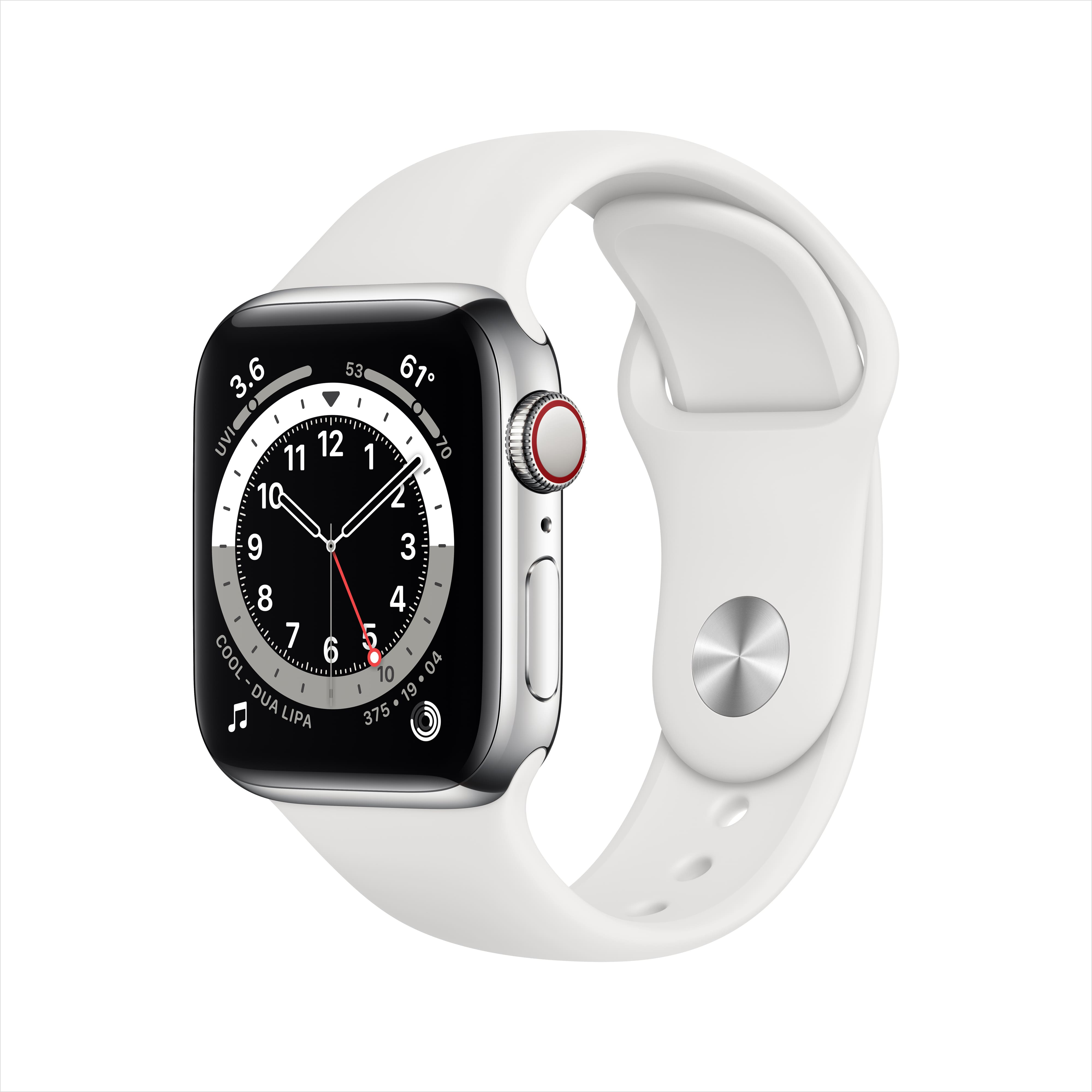 Apple Watch Series 6 GPS + Cellular, 40mm Silver Stainless Steel Case with White Sport Band $555.32 at Walmart