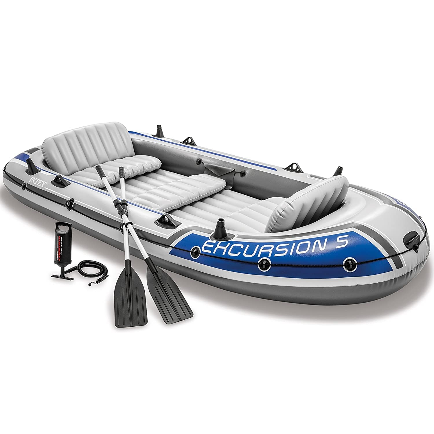 Intex Excursion 5, 5-Person Inflatable Boat Set with Aluminum Oars and High Output Air Pump $102.62