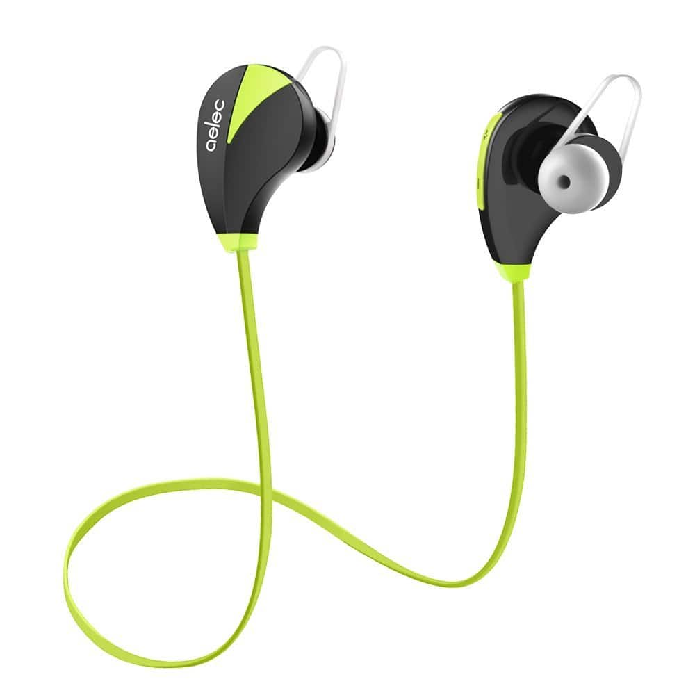 AELEC Bluetooth Headphones Wireless Sports Earbuds Sweatproof Earphones Noise Cancelling Headsets with Mic for Running Jogging Long Battery Life [Lime green] $11.94