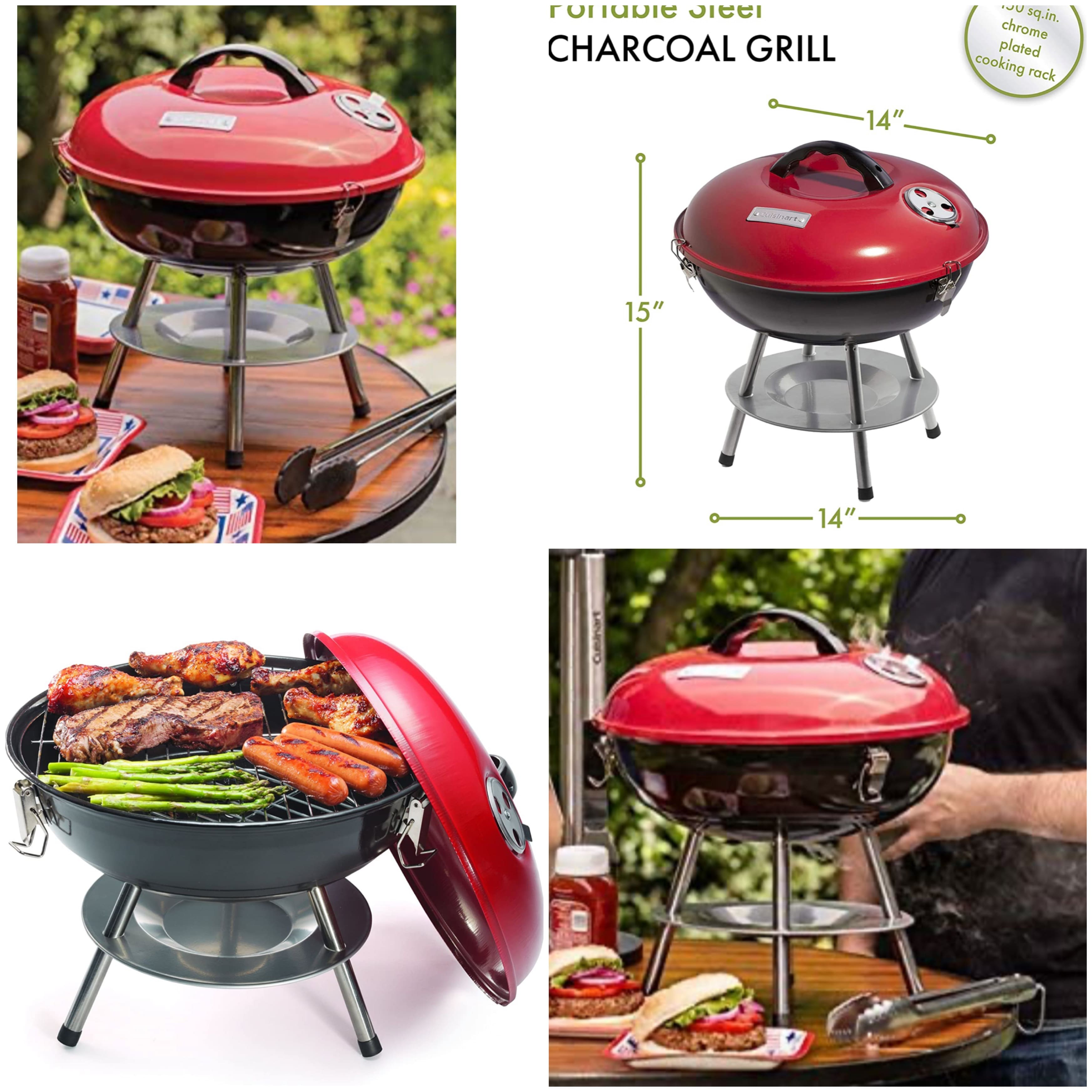 Cuisinart Portable Charcoal Grill, 14-Inch, Red $20.99
