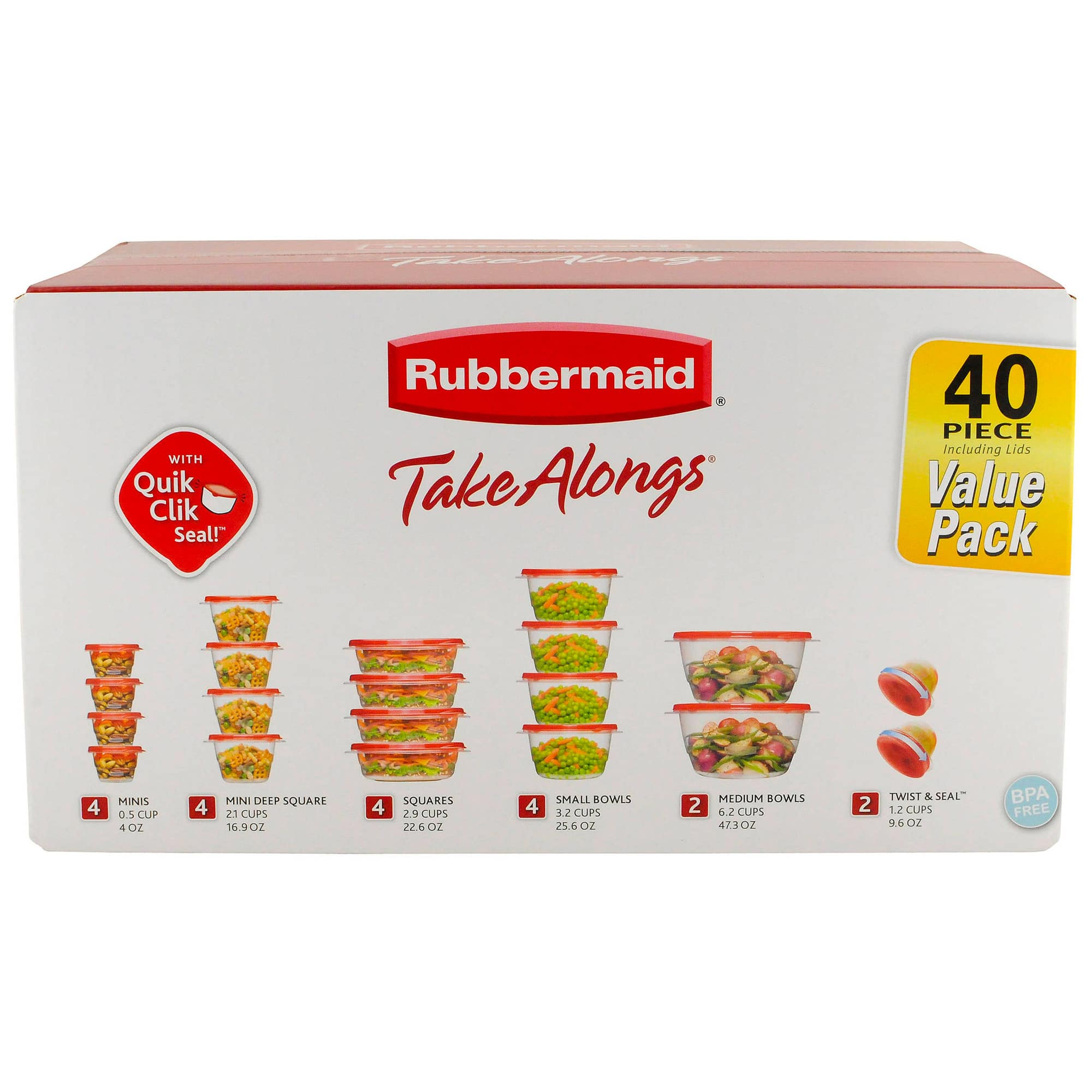 Rubbermaid TakeAlongs Food Storage Containers, 40 Piece Set, Ruby Red - $8.48 In Store Only