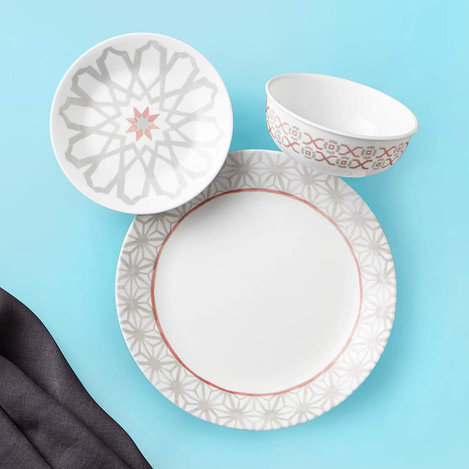 Corelle 18-Piece Service for 6, Chip Resistant Dinnerware Set, Amalfi Rosa or Terrazzo Verde - $48.99