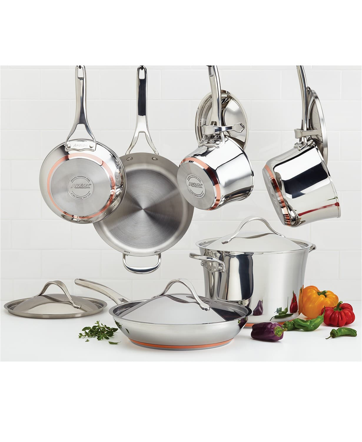 Anolon Nouvelle Copper Hard Anodized 11 Piece Cookware Set + Free 3 Piece Cookware Set - $279.99