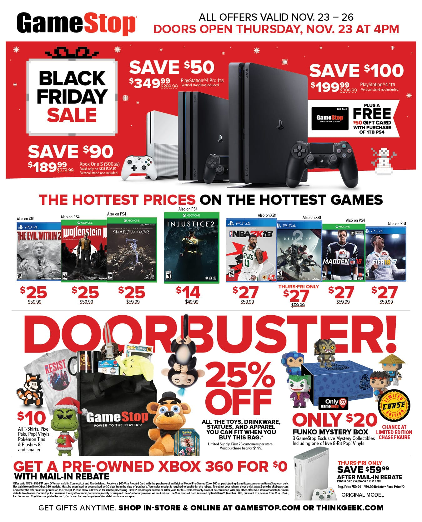Sony Playstation 4 $150 after $50 GC @Gamestop BF sale