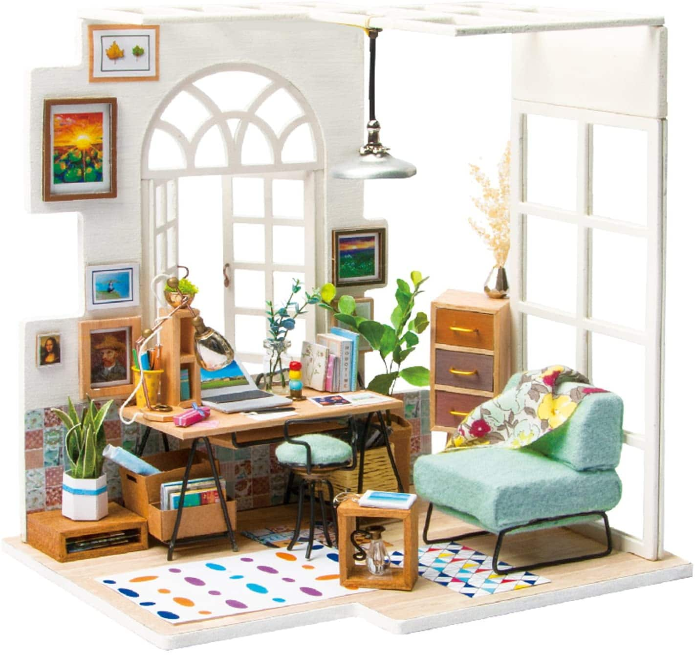 ROBOTIME Miniature Dollhouse Kit Decorations with Lights and Furnitures DIY House Craft Kits (SOHO TIME) 13.49 FS $13.49