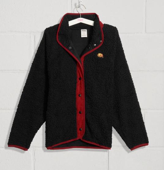 Victoria's Secret Women's Pink Collegiate Collection Sherpa Snap Jacket $9.99