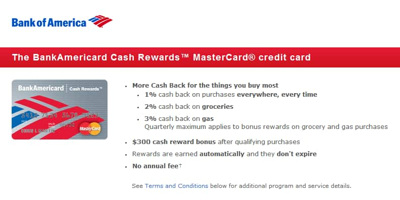 Bank of America Credit Card: 0% APR for 15 months + Cashback +$300 bonus