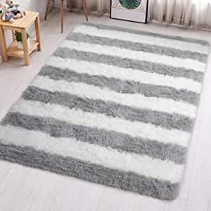 50% OFF (PAGISOFE Ultra Soft Indoor Plush Striped Shaggy Area Rugs for Bedroom Kids Living Room) $9.99