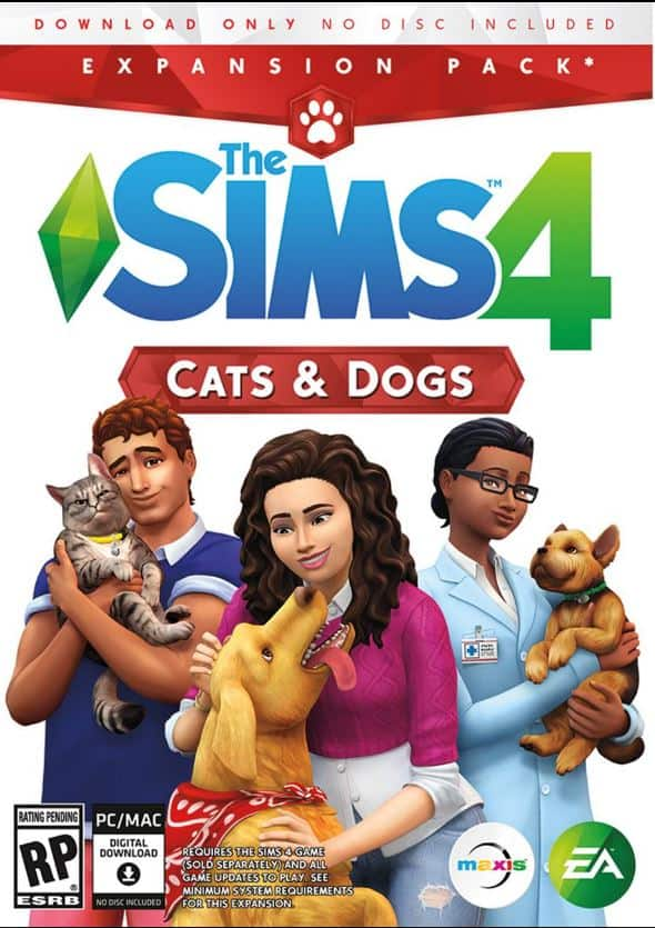 The Sims 4 PCDD Titles 50% off In-store at Target With Cartwheel, including Cats & Dogs Expansion Pack -  $20