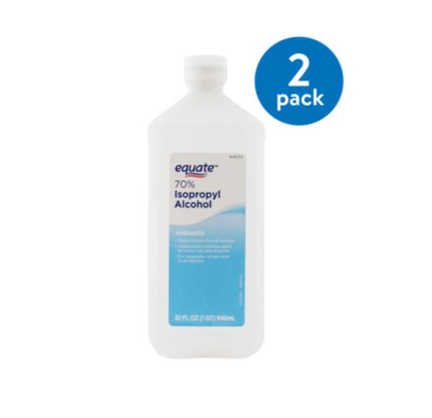 70 % equate isopropyl alcohol 2ea. 32oz $2.91 at Walmart