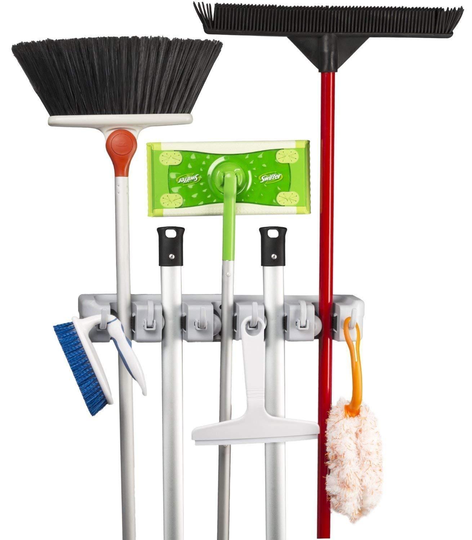 Mop and Broom Holder Kingtop Garage Storage Rack Hooks Wall Mounted Organizer for Home Garden Tool Shelving (5 position 6 hooks), $9.1