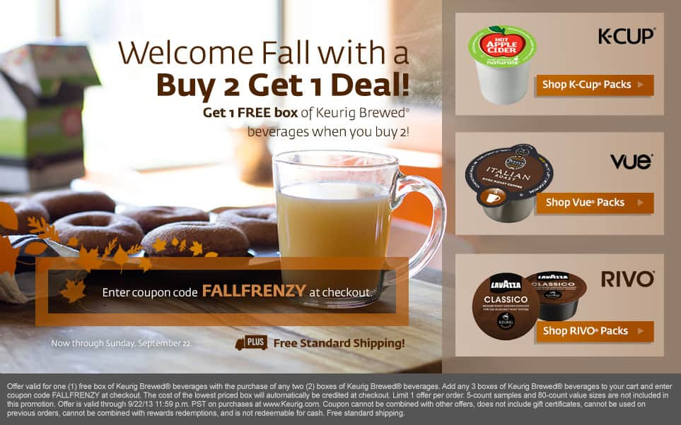 K-cups Various 24ct Box $5.20 each (.22pc)  when you buy 5 at Keurig.com, Rivo and Vue cups included through 9/22