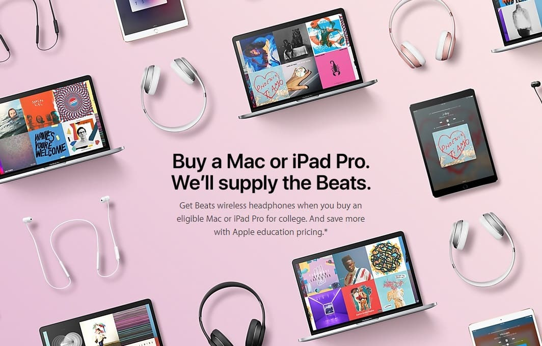 Free Beats x or Beats Solo3 with Purchase of iPad Pro, Macbook, Mac from Apple Education Store