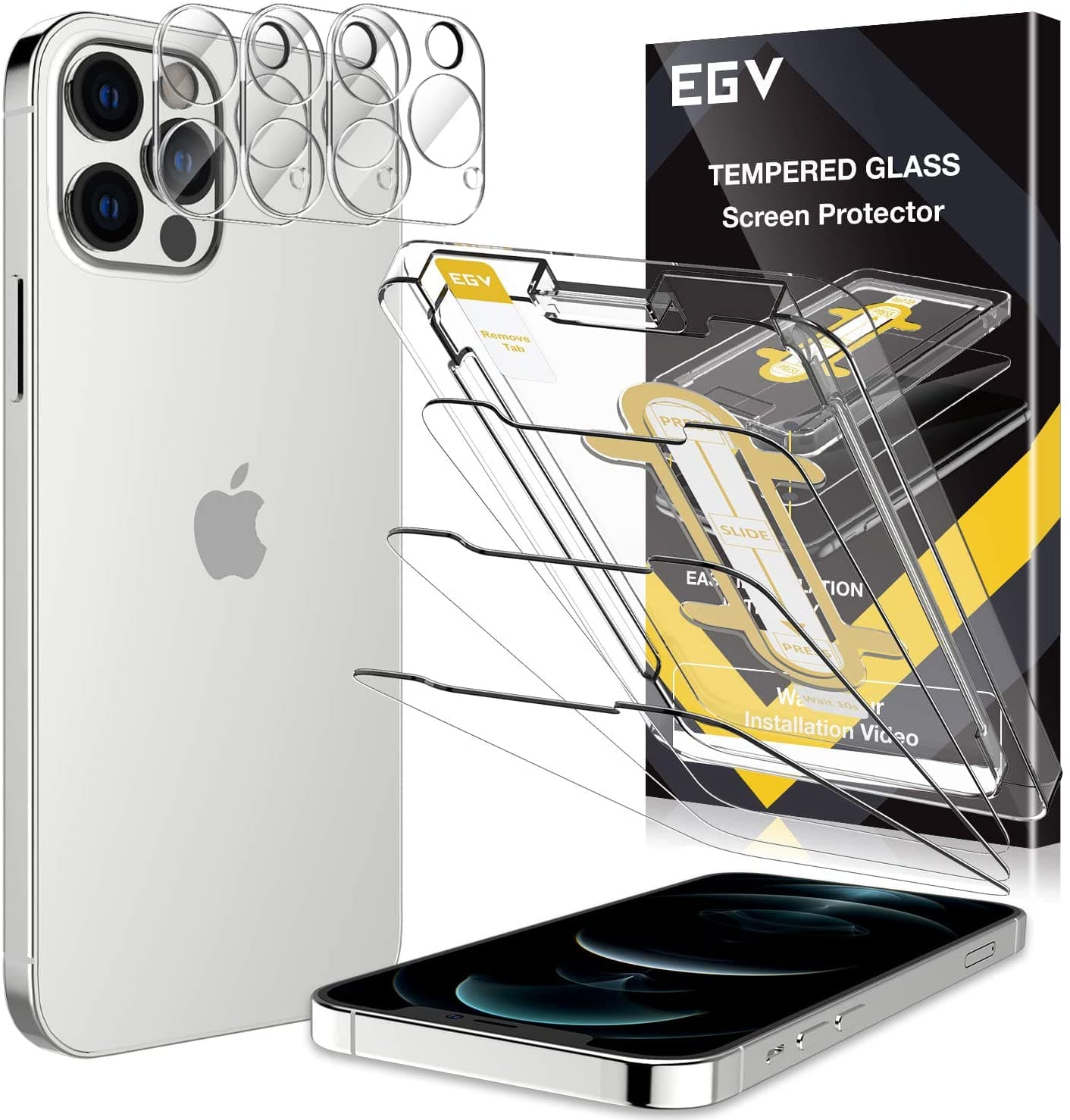 Amazon.com: 6 Pack EGV 3pcs Screen Protector & 3pcs Camera Lens Protector Compatible with iPhone 12 Pro 5G 6.1-inch, 9H Hardness Tempered Glass $6.99