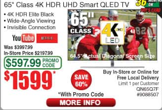"""Samsung 65"""" 4K TV QN65Q7F for $1599 after promo code at Fry's"""