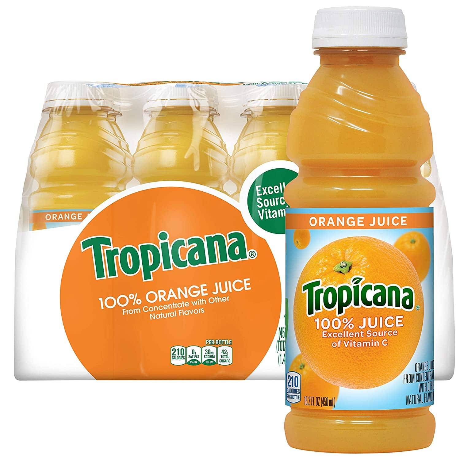 Tropicana Orange Juice, 15.2 Fl Oz Bottles, Pack of 12 -- $12.33