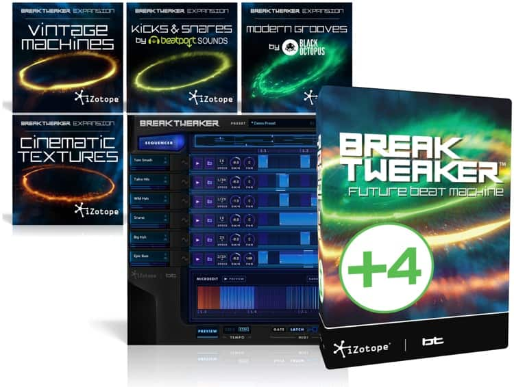 iZotope BreakTweaker Expanded Modern Virtual Drum Machine and Expansion Library Bundle $9.99