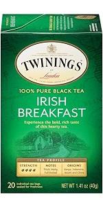 Twinings of London Irish Breakfast Black Tea Bags, 20 Count (Pack of 6) $9 on Amazon