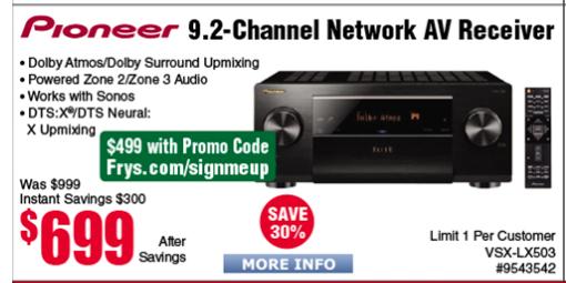 Pioneer Elite VSX-LX503 9 2-Channel Network A/V Receiver