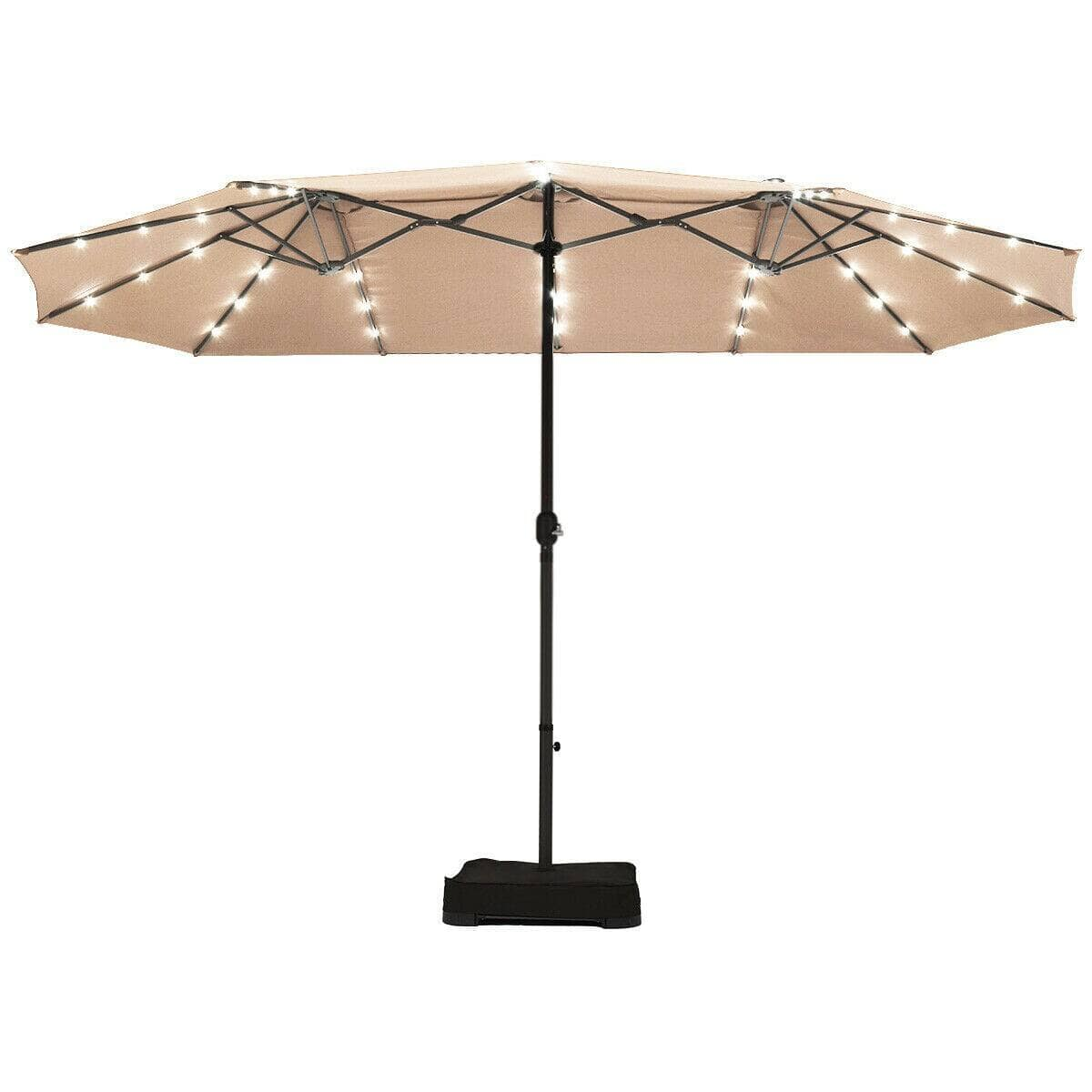 Costway 15 Ft Solar LED Patio Double-sided Umbrella Market Umbrella with Weight Base $203.95
