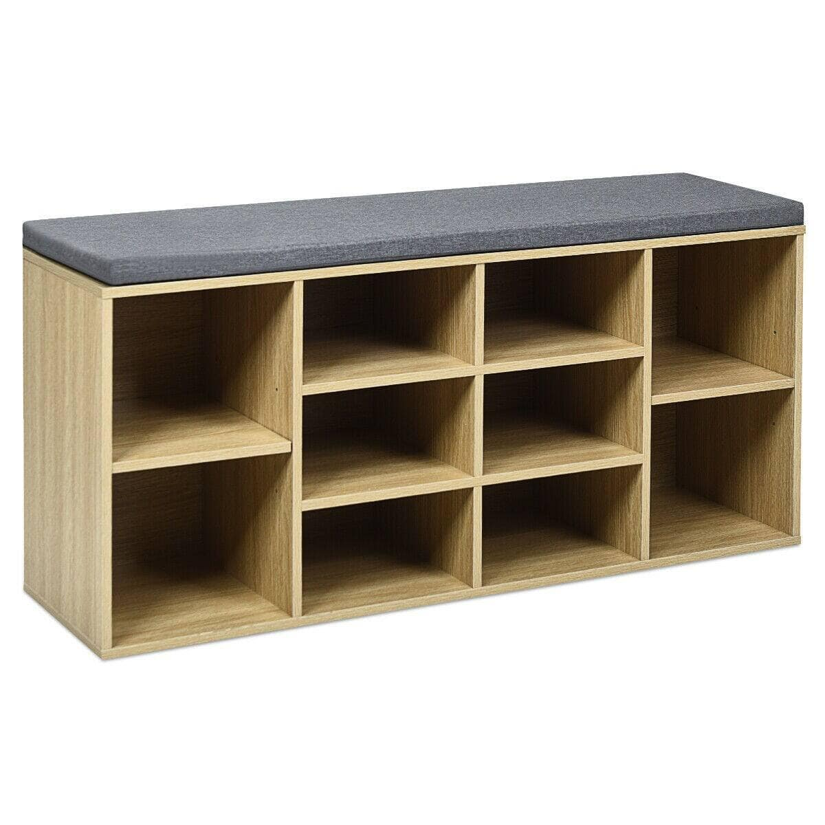 Costway 10-Cube Organizer Entryway Padded Shoe Storage Bench $73.95 with Free Shipping