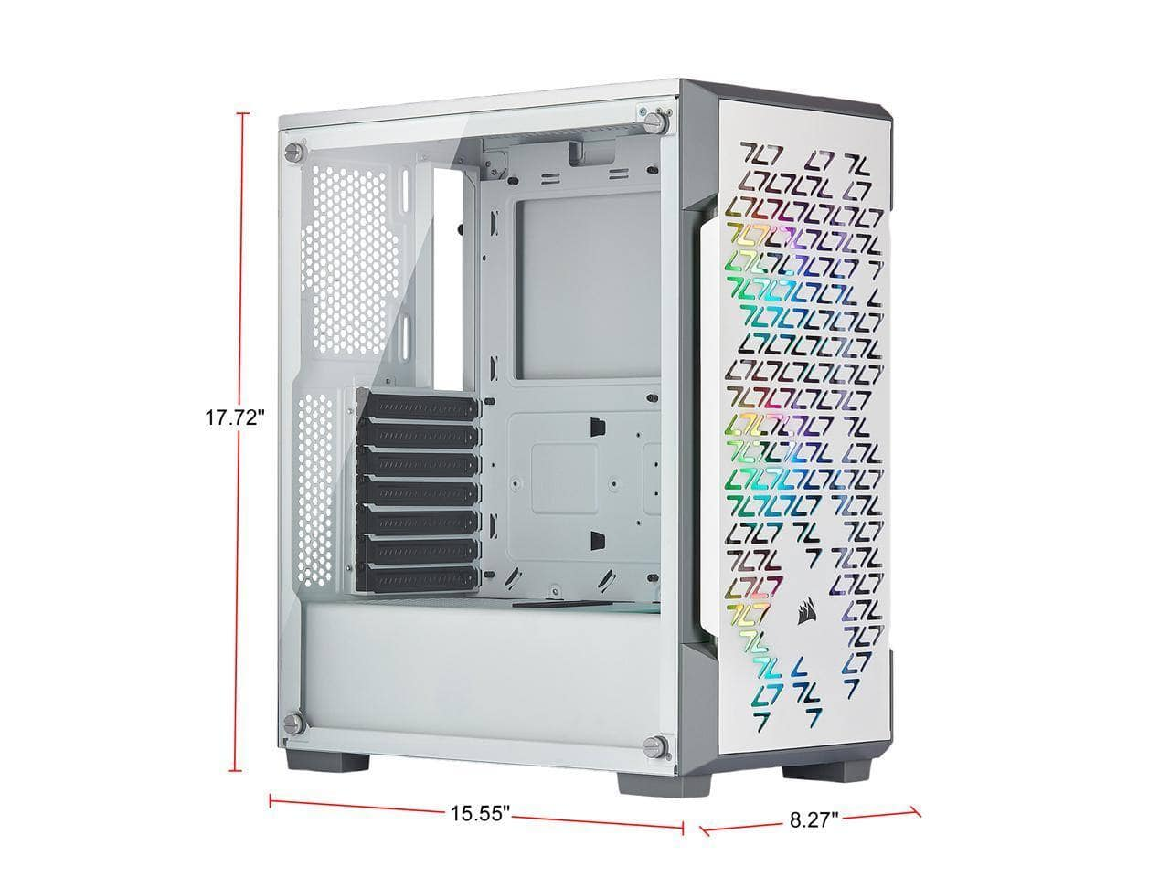 Corsair iCUE 220T RGB Airflow CC-9011174-WW White Steel / Plastic / Tempered Glass ATX Mid Tower Computer Case $79.99