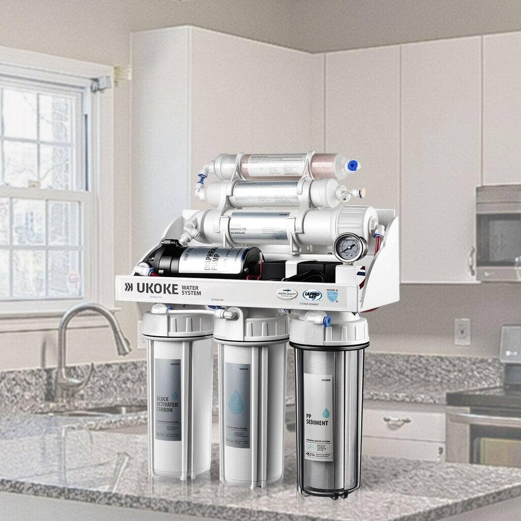 Ukoke RO8-P 6 Stages Reverse Osmosis, Water Filtration System, 75 GPD with Pump $139+Free Shipping