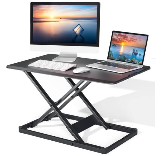 PERLESMITH Black Height Adjustable Stand Up Desktop Riser only $20.99 + Free Shipping w/ $35