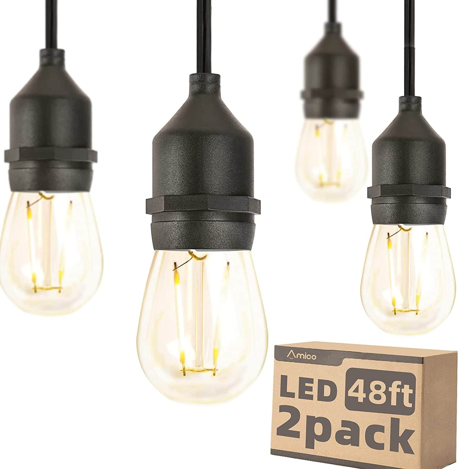 96FT (48FT*2) LED Outdoor String Lights 2W Dimmable $47.39 + Free Shipping w/ Prime