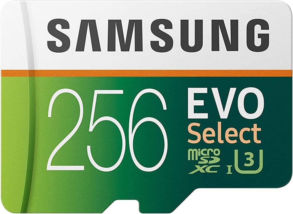 SAMSUNG ELECTRONICS EVO Select 256GB MicroSD (No Import Fees Deposit & $6.57 Shipping to United Kingdom) $35.99 at Amazon
