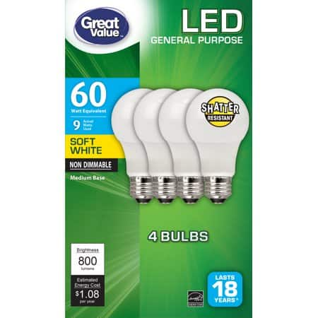 4 Pack Great Value LED Bulb, 9W (60W Equivalent), Soft White, Non Dimmable - $2.88 - Walmart YMMV B&M Clearance