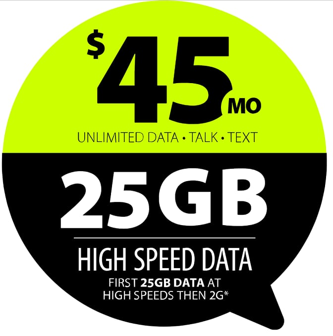 Straight Talk unlimited $45 plan increase to 25gb