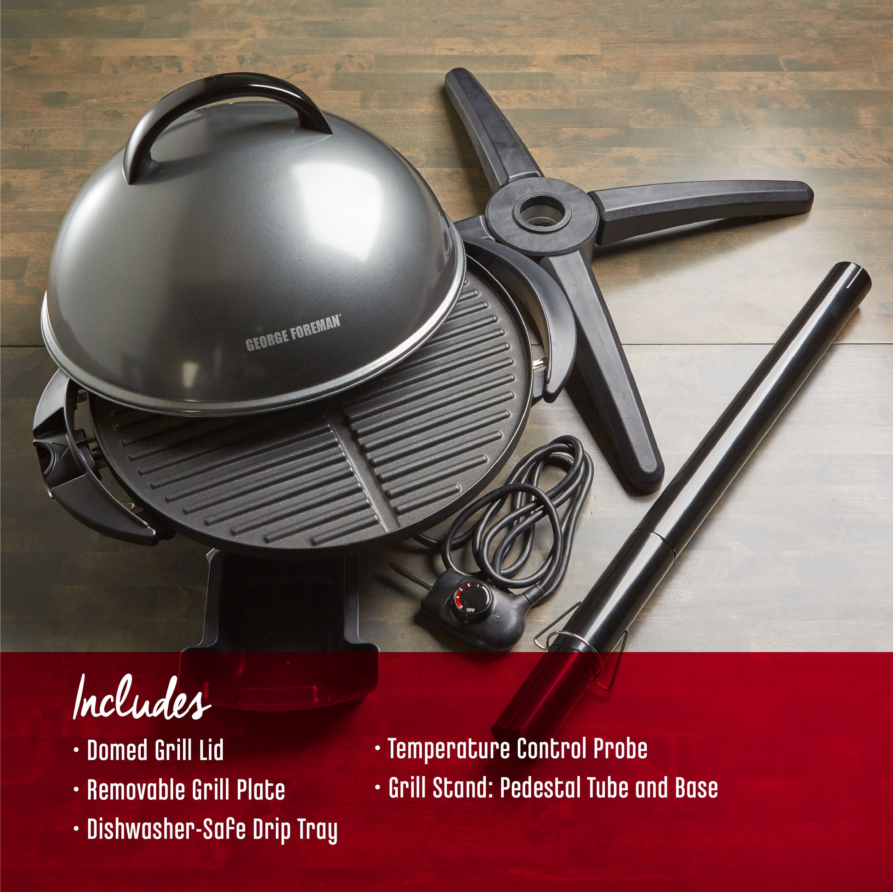 George Foreman 15+ Serving Indoor/Outdoor Electric Grill, Gun Metal, GFO240GM $64.98 + Free S/H