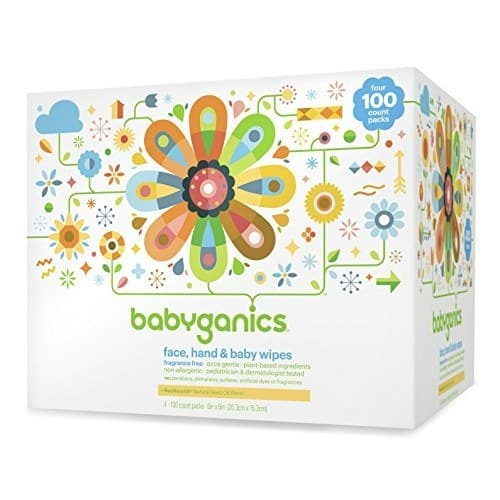 Babyganics Face, Hand & Baby Wipes, Fragrance Free, 400 Count (Contains Four 100-Count Packs) $9.3