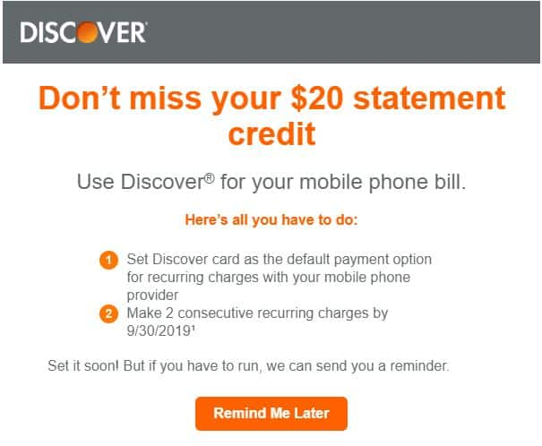 Discover $20 credit for Mobile Bill payment