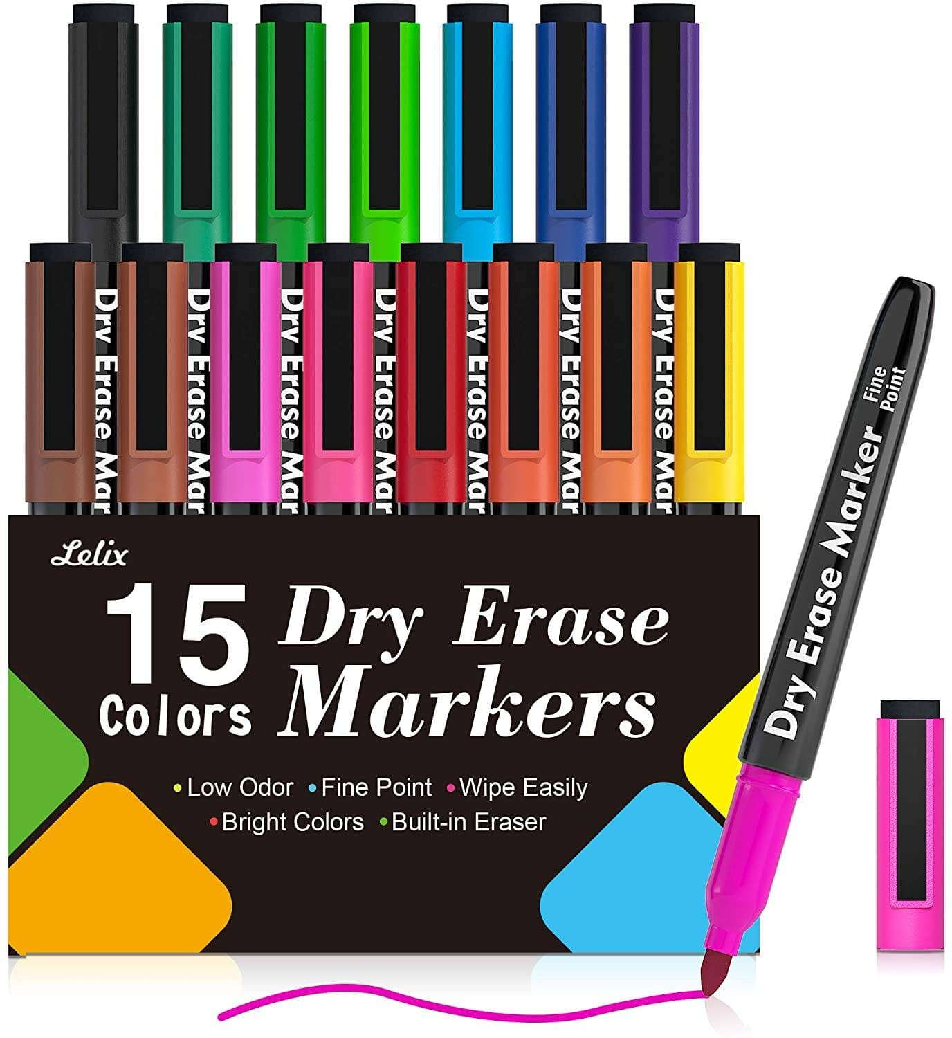 Lelix 15 Colors Magnetic Dry Erase Markers with Eraser $4.97 + Free shipping w/ Prime or $25+