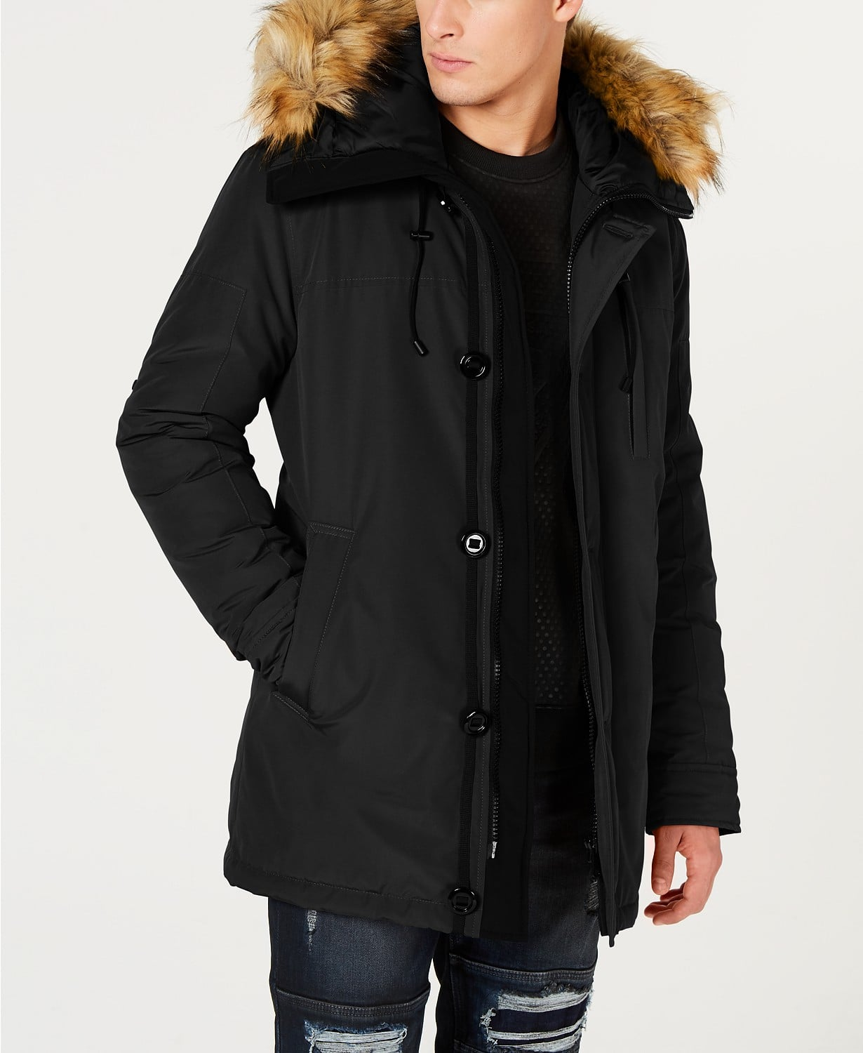 Macy's FLASH Sale - GUESS Hooded Parka w/ code  FLASH $97.5