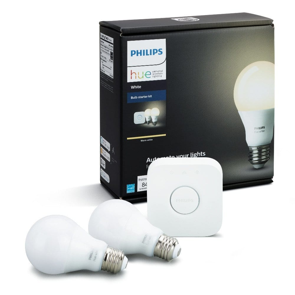 $54.67 Philips Hue White A19 60W Equivalent Smart Bulb Starter Kit (Compatible with Amazon Alexa, Apple HomeKit, and Google Assistant)