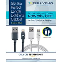 Amazon Deal: 20% Off 2 feet or 6 feet Tech Armor Apple MFi Certified Braided Lightning Cable $11.16 and $11.96 with FS