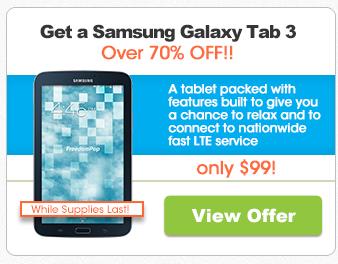 Freedompop Samsung Galaxy Tab 3 $99.99 100% free LTE Internet