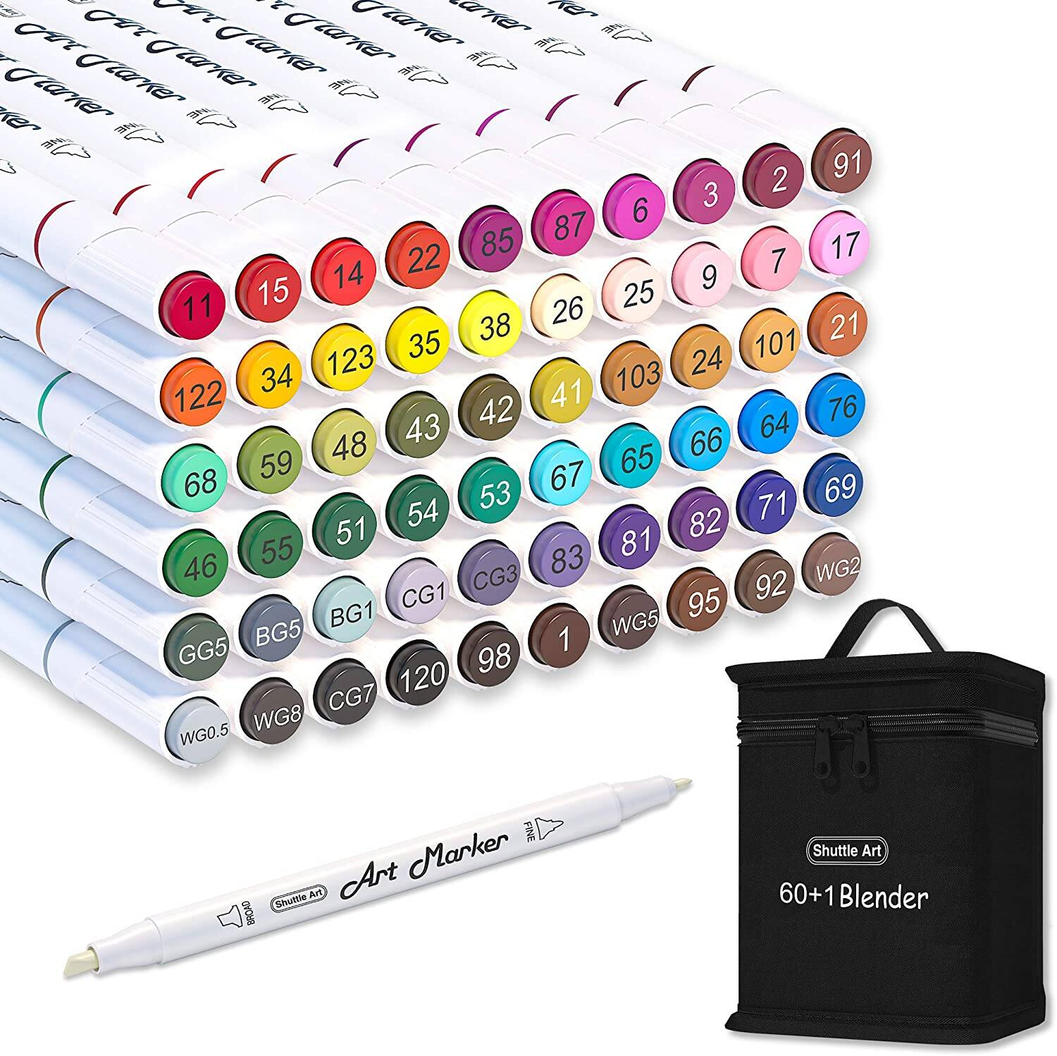 Shuttle Art 61 Colors Dual Tip Art Markers  $11.99 + Free shipping w/ Prime or $25+