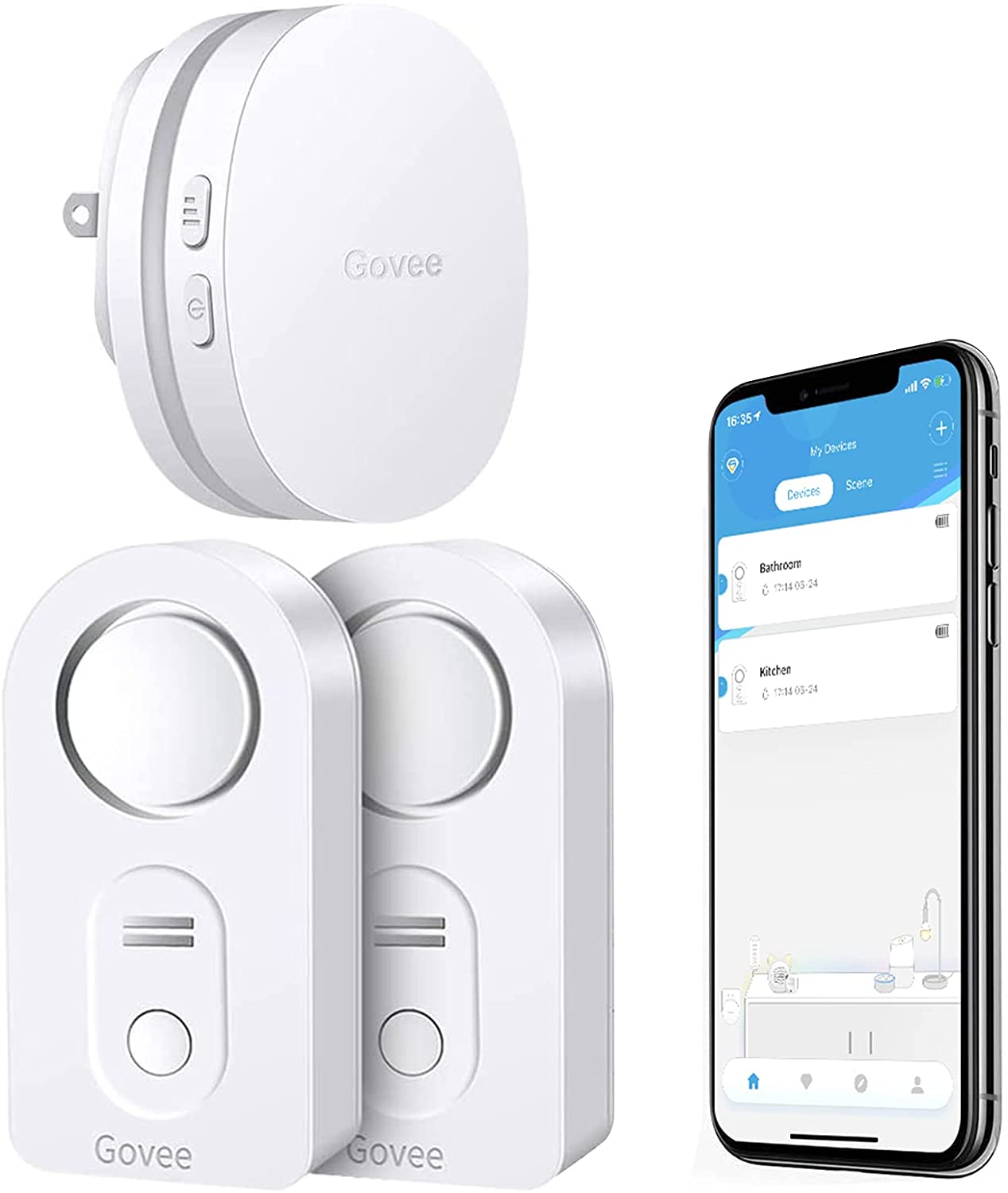 Govee WiFi Water Sensor 2 Pack,100dB Adjustable Alarm and Smartphone App Notifications -$27.99 + FS with PRIME