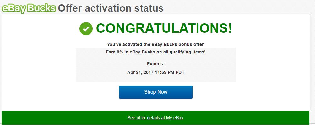 8% eBay Bucks, Ends 4/21 - Targeted, YMMV