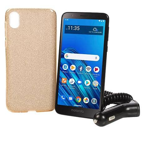 "Motorola Moto E6 5.5"" HD+ Display Tracfone w/1500 Minutes/Texts/Data HSN $59 WITH  New Customer $10 COUPON $49 FREE ship Android 9.0 Pie 13MP rear camera"