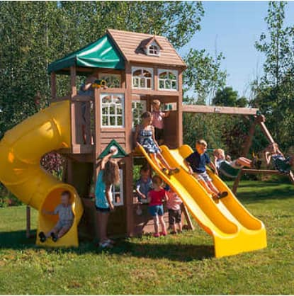Cedar Summit Lookout Lodge 3 Slide Cedar Playset / Swingset - Do It Yourself