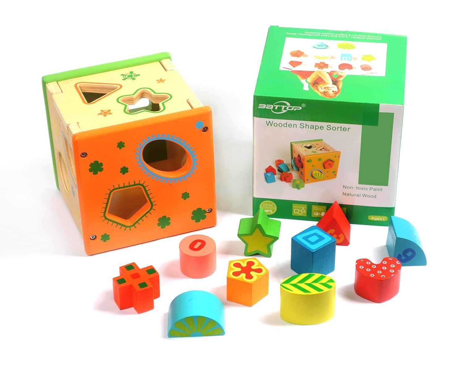 Baby Shape Color Recognition Intelligence Toys Wooden Shape Sorter Cube Early Education @ Amazon $19.49