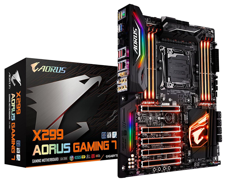 GIGABYTE X299 AORUS Gaming 7 Motherboard (Intel LGA 2066 / ATX/ 3 M.2/ Front USB 3.1 /ESS Sabre Audio /RGB Fusion/Dual LAN / Killer WIFI /3 Way SLI) $321.73
