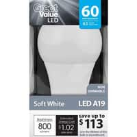 Walmart Deal: Great Value 60W Equivalent A19 Non-Dimmable LED Light Bulb (Soft White)